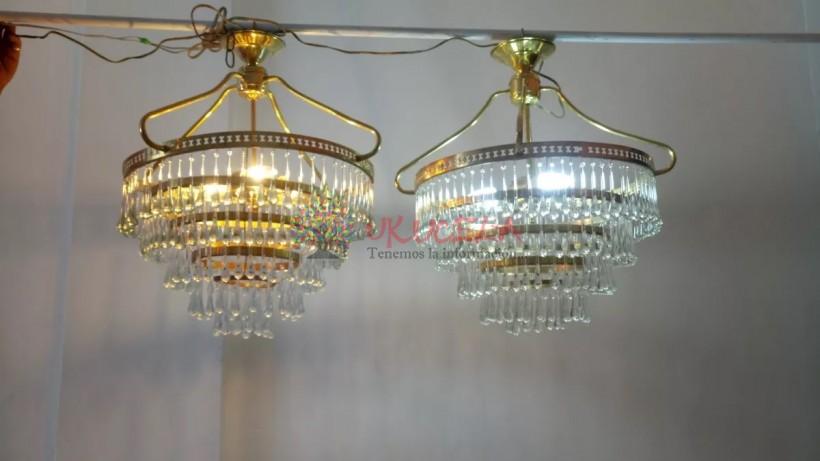 Lampara De Techo Antigua Deco Bronce Y Cristal