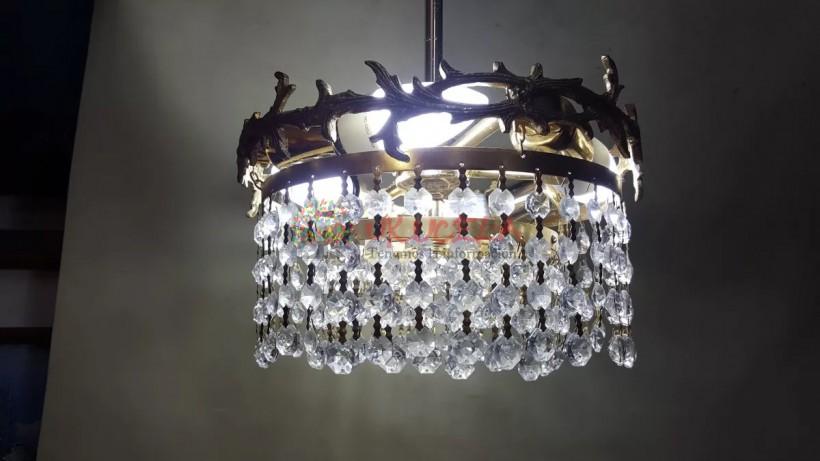 Lampara De Techo Antigua Bronce Y Cristal Baccarat Francesa