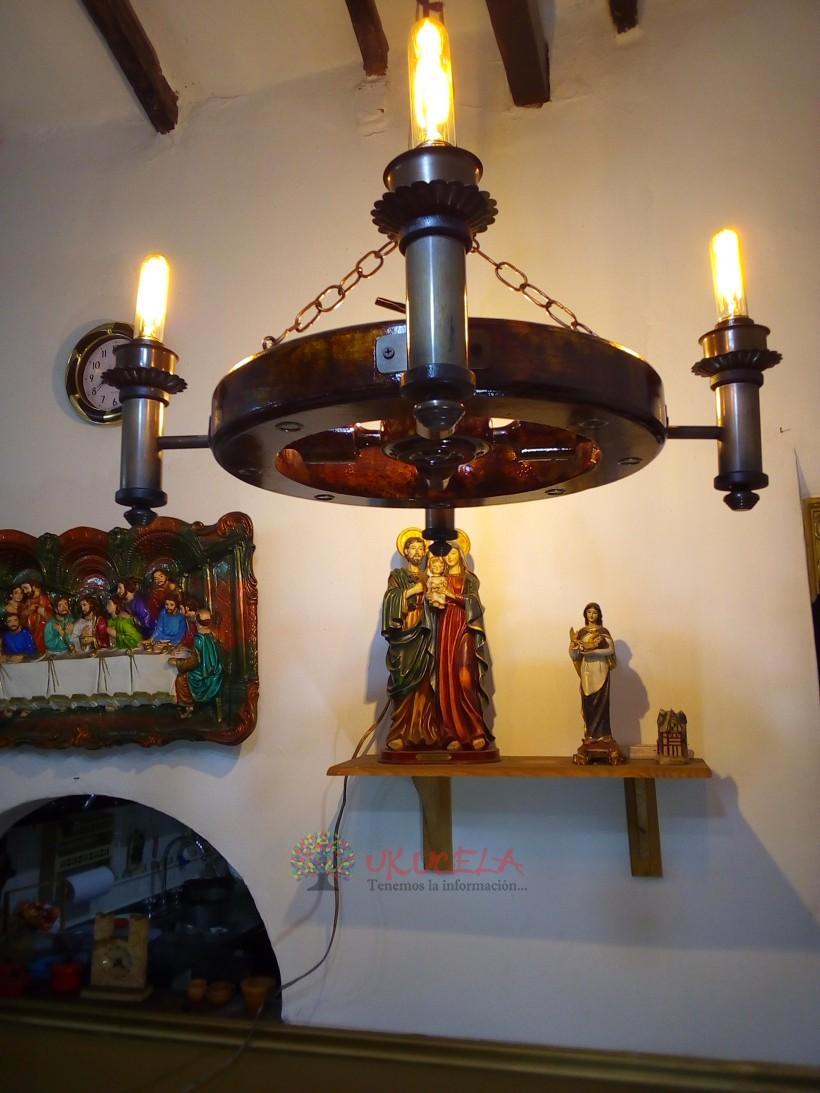 lamparas antiguas 70 años juego de 5 lamparas madera cobre antiguo