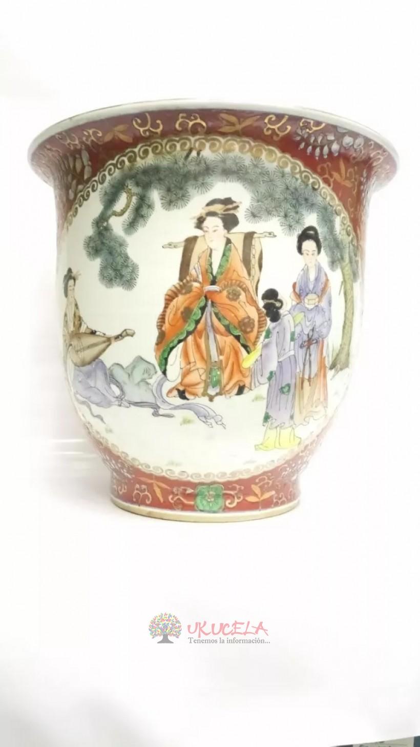Jarron Chino Antiguo Porcelana Y Oleo Grande