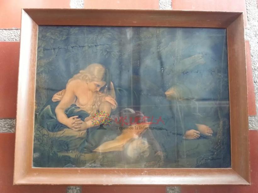 Cuadro Antiguo De Litografia Ninfa Francesa Marco En Cedro