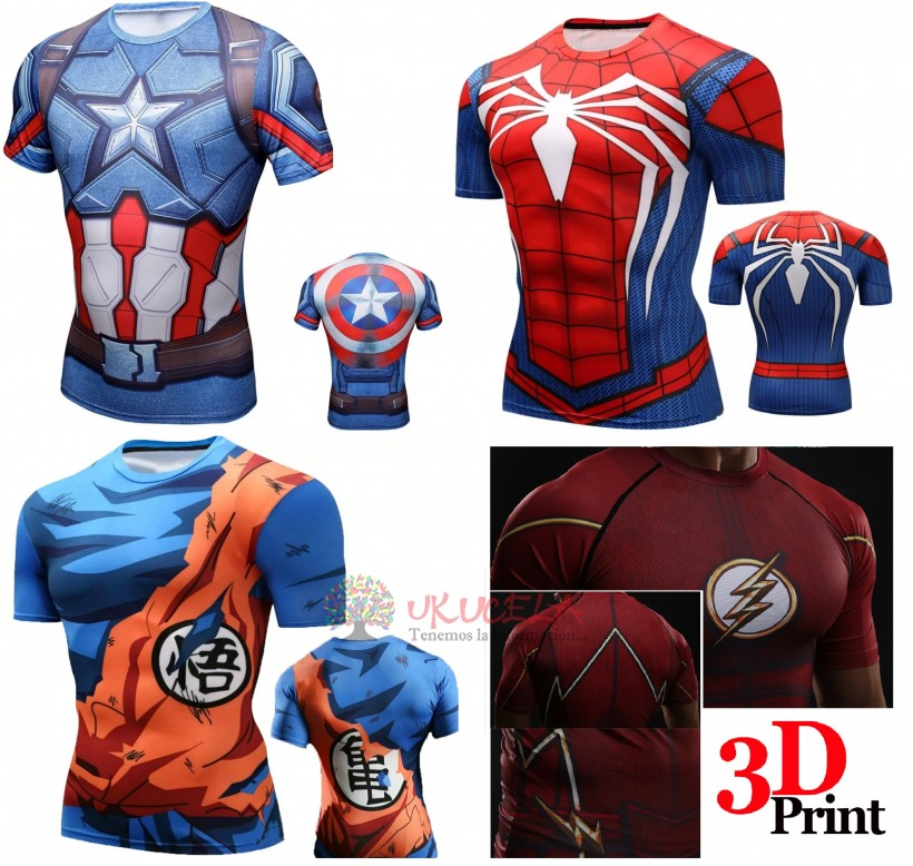 Camisetas Superheroes MARVEL Y DC Comics gym