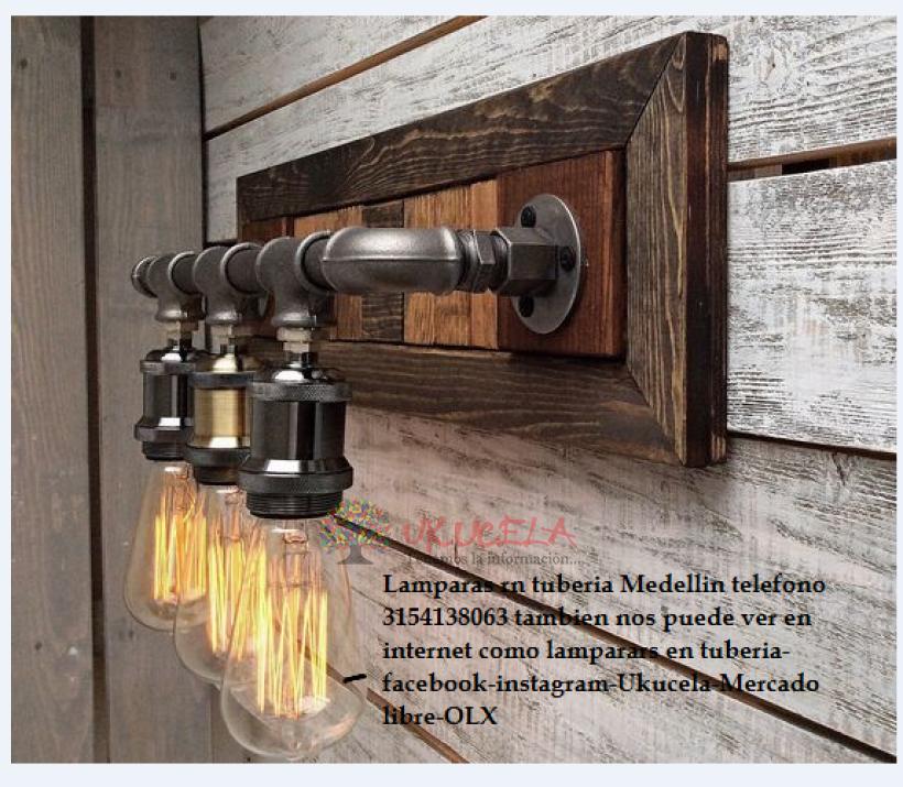 lampara en tuberia madera pino envejecida bombilo edison