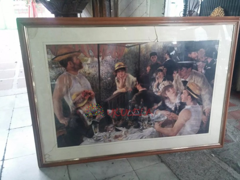 Cuadro Antiguo De Litografia Café Vintage Italiano Tipo Oleo