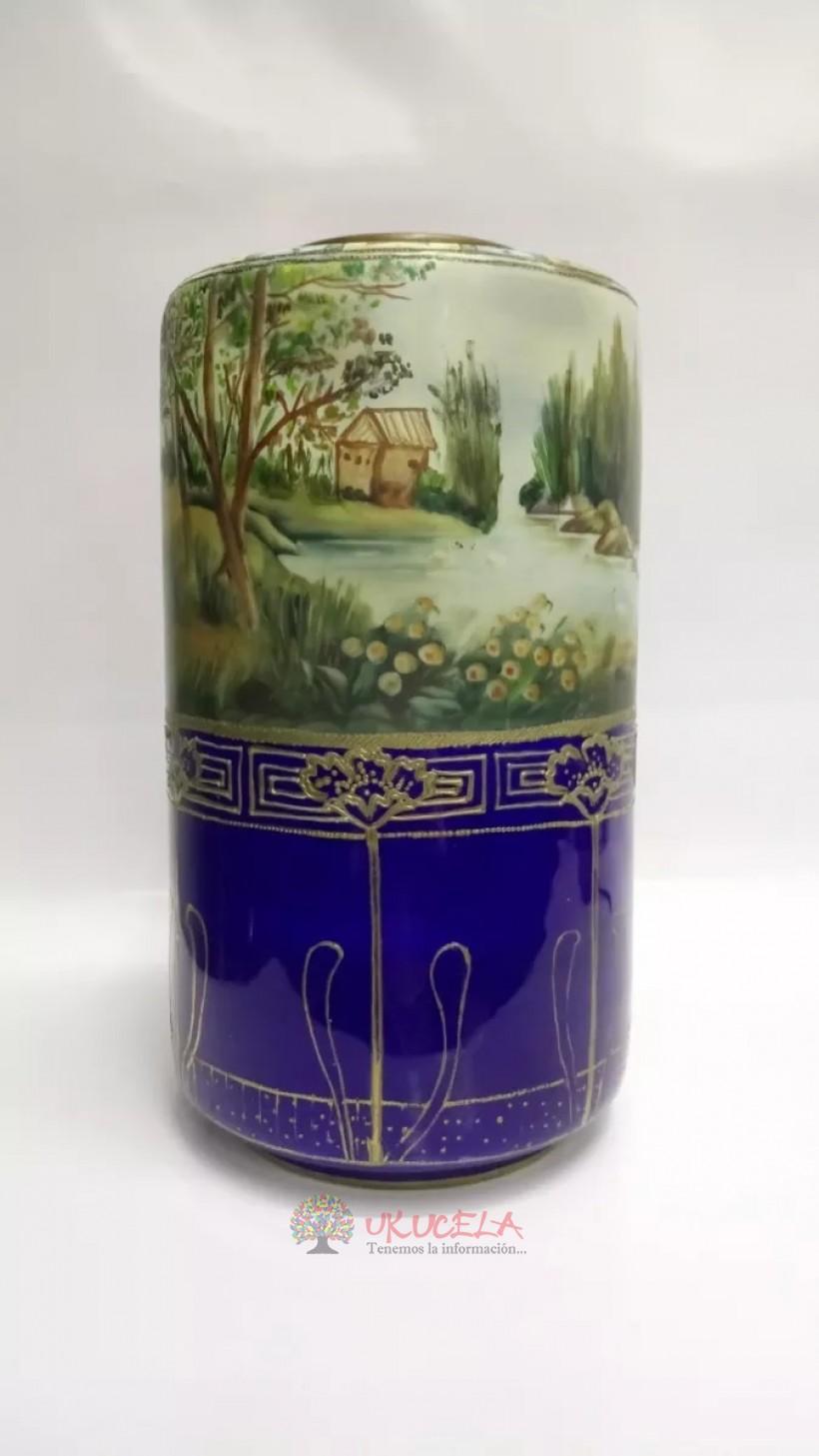 Florero Japones Antiguo En Porcelana Y Oleo