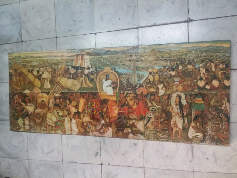 Cuadro Antiguo Mexicano Tipo Mural Impresión Litografica