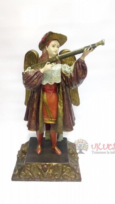 ESCULTURA ARTE RELIGIOSO ANTIGUA ANGEL ARCABUCERO SIGLO XVIII