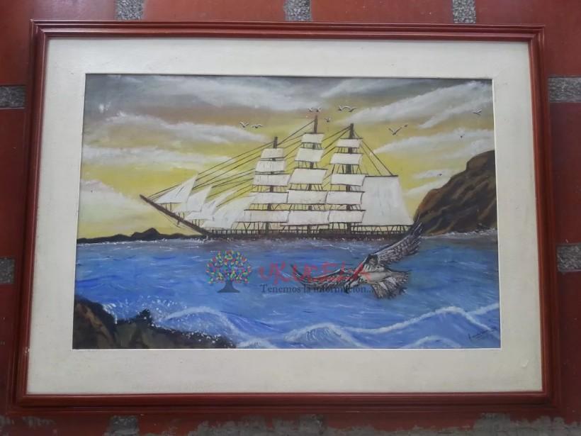 Cuadro Antiguo Oleo Sobre Lienzo De Barco Firmado Francisco