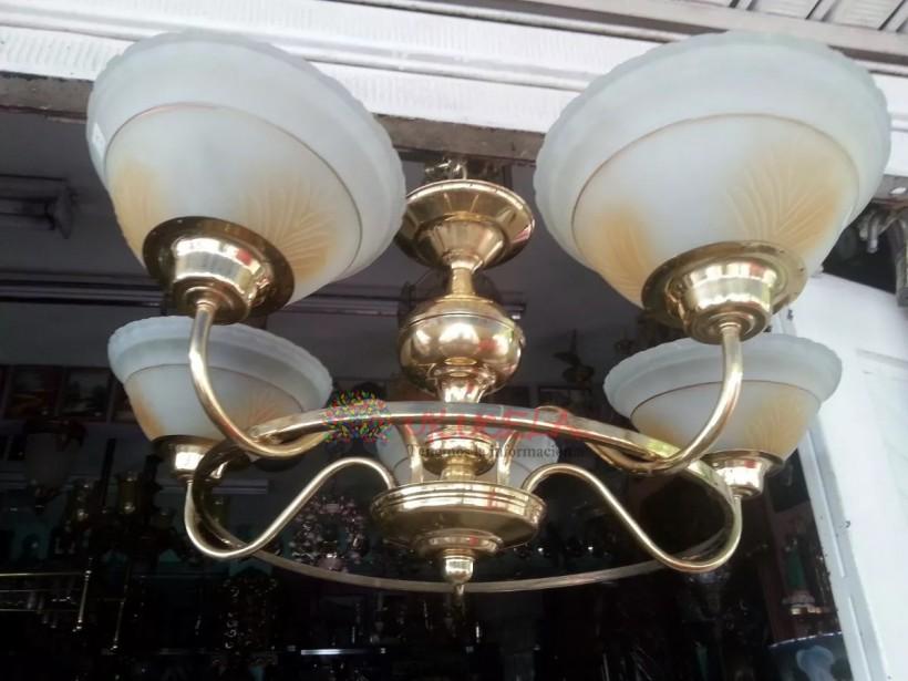 Lampara De Techo Antigua Bronce Con Cristales Deco Años 50´s