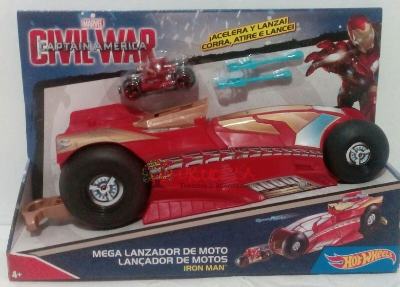 Mega Lanzador Hot Wheels Marvel Iron Man.