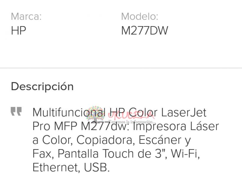 Impresora Hp Láser Jet Pro Todo en Uno